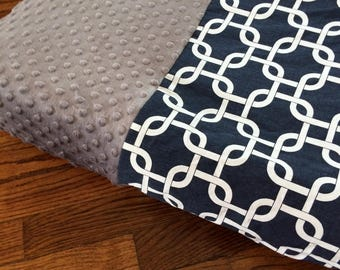 Navy Blue and Gray Minky Changing Pad Cover with Black Minky