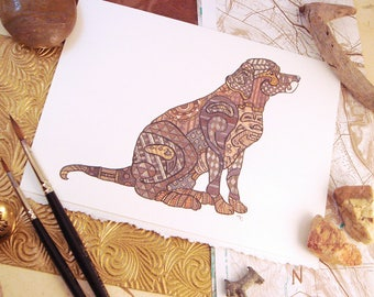 Watercolor Chocolate Labrador Dog Print Greeting Card