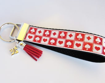 Poker Key Fob - Card Suits Keychain - Poker Player Gifts - Gifts For Card Players - Blackjack - Bridge - Gambling Gifts - Casino Key Fob