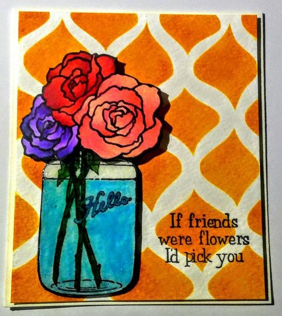 Quatrefoil inked background rose mason jar friendship greeting card. Inside is left blank. Comes with matching envelope