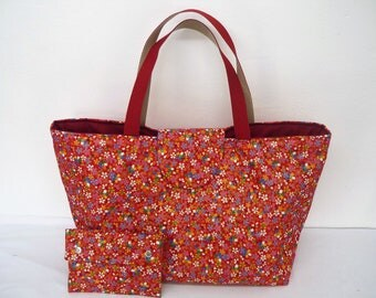 Bag fabric Tote red flower Japanese cherry tree
