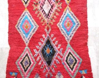 7.8 x 4.9 feet / Boujad Vintage Moroccan Rug , Rag . Wool Boujad Carpet . Tapis Boujad  .