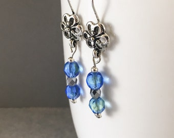 Blue dangle earrings, blue earrings, blue czech glass earrings, flower earrings, blue flower earrings