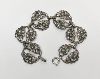 Danecraft Sterling Silver Flowers Art Nouveau Link Bracelet