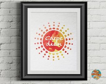 Carpe diem, watercolor style, digital artwork, Printable poster, Wall art decor