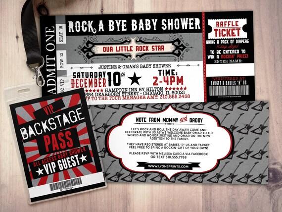 Rock Star Concert Ticket Baby Shower Invitation-Coed Baby