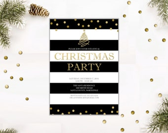 CHRISTMAS Party Invitation, Gold Glitters Holiday Party Invite, Classy Cocktails Party Holidays Cheer, Corporate Party, Digital Printable