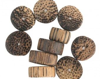 Palmwood flat round disks. 14x8mm average size. Pkg of 10. B7-WO113(e)