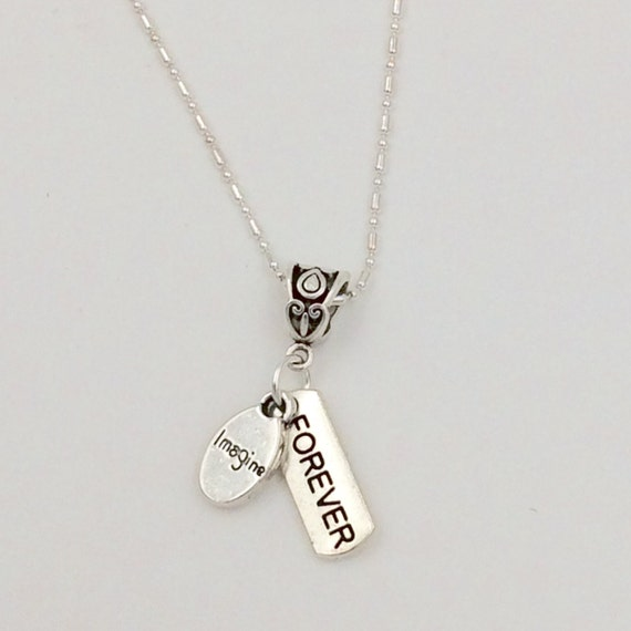 "JW ""Imagine Forever"" Necklace, Dangle Style, Silver-Plated chain 18"", Blue Monkey Gallery Gift Bag"
