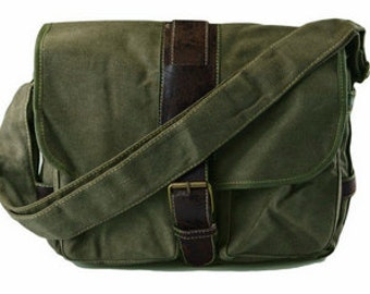 Quality Military Green Stylish Compact Canvas Satchel Messenger Bags Leather Buckle Multi-Pocket Messenger Bag Classic Vintage