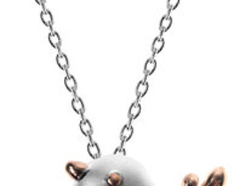 Sterling Silver Rose Gold Chubby Bird Necklace
