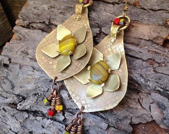 Golden earrings,  hand forged riveted flower earrings