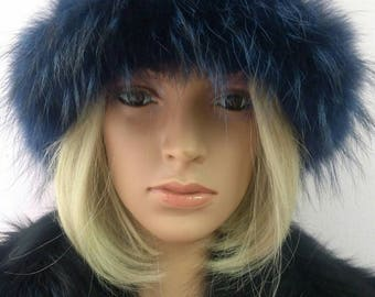 New!Natural,Real Blue color MINK Fur HAT with Fox stripe!
