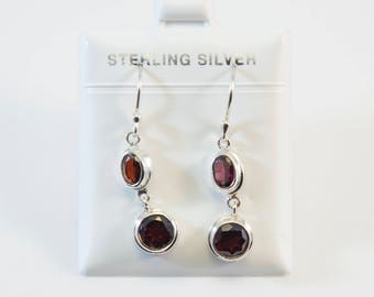 Balinese Oval and Round-Shaped Garnet Earrings