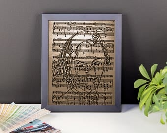 Musical art poster. several sizes available. Line drawing on sheet music