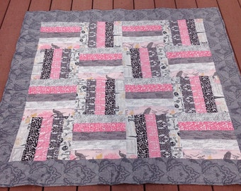 Handmade lap quilt - rail fence in Parisian style fabric with pinks & grays