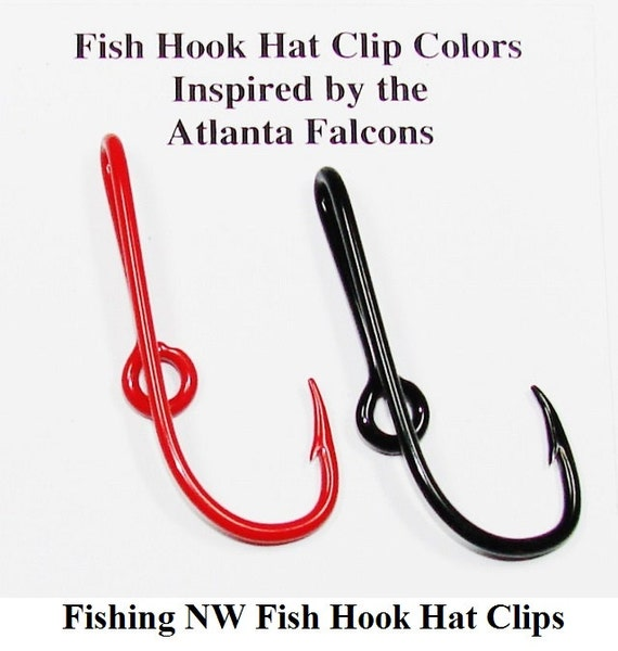 Atlanta falcons inspired colored fish hook hat clips by for Fishing hook hat clip