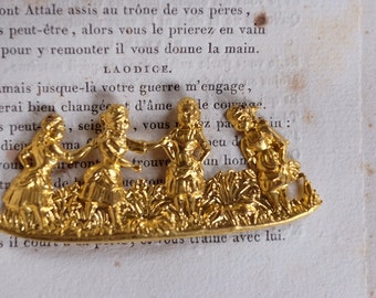 Pair French antique brass (gold plated) Art nouveau pendant stamping Parisian atelier Framex, vintage jewellery supplies craft
