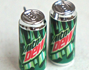 Mountain Dew Soda Can Earrings - miniature food jewelry, food earrings
