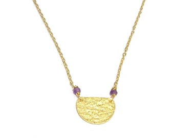 Gold Vermeil and thin, Amethyst stones necklace