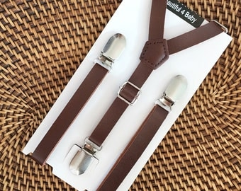 Leather Suspenders, Leather Little Boy Suspenders, Leather Suspenders, Toddler Suspenders, Rustic Weddings, 6mo to 5 yr
