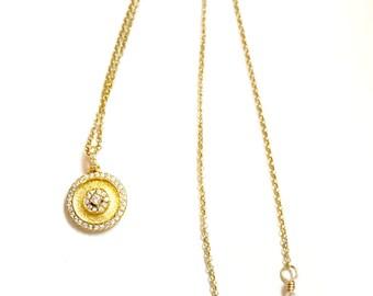 Dainty Gold Vermeil Diamond Cubic Zirconia Pendant Gold Vermeil Rolo Chain Necklace, Minimalist Style Jewelry, Pendant Necklaces