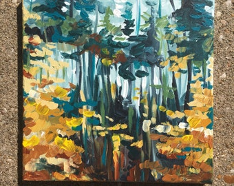 Original painting - forest in autumn - leaves changing - fine art prints - green and yellow - trees - woods landscape - nonfigurative
