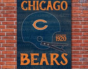 Chicago Bears - Vintage Helmet - Art Print - Perfect for Mancave