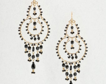 Black Beaded Chandelier Earrings, Black Bead Earrings, Black, Long Earrings, Gift Ideas, Gift's for her, Holiday Gifts