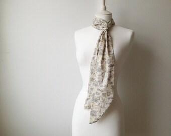 Liberty of London Isle of Wight Skinny Scarf Tie Thin Belt Headscarf Long Summery Cotton 2622