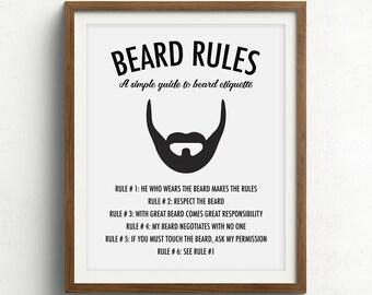 Beard Print, Gifts for him, Beard Art, Husband Gift, Boyfriend Gift, Beard Rules, Beard Quote