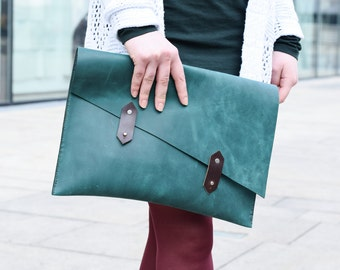 Oversized leather clutch, leather handbag, leather portfolio, leather bag, leather purse, leather clutch bag, gift for her, green, clutch