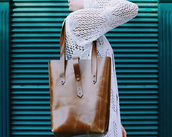 Leather tote bag, tan leather tote, large leather tote, tote bag, leather handbag, shoulder bag, tan tote bag, brown leather tote