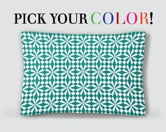 geometric sham modern pillow sham green bed pillow white blue pillowcase purple
