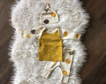 Gender neutral organic baby clothes newborn take home outfit, mustard yellow, browns, cream polka dots, hospital outfit, coming home outfit