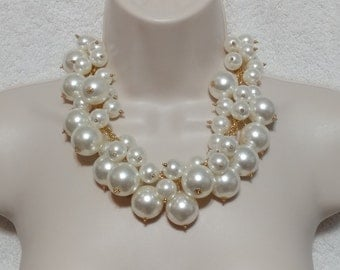 Huge Statement Floating Faux Pearl Gold Tone Necklace Choker