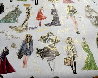 Be In Vogue - Wrapping Paper/Gold Embossed/Sheet Style/Cute/Pretty/Unique/Kawaii/Holiday/Fancy/Wedding/Gift Wrap/Fun/Elegant/Occasion
