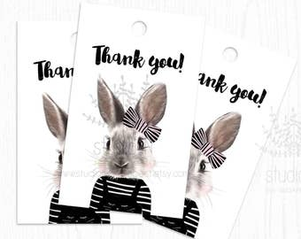 THANK YOU TAG, birthday thank you tags, printable favor tags, baby shower thank you tag, bunny tag, bunny thank you card, bunny favor tags