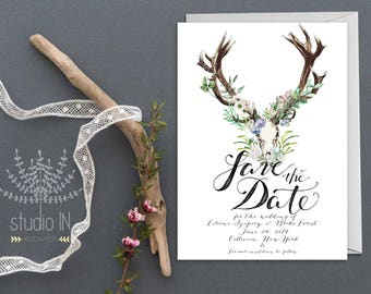 Bohemian Save the date card, boho rustic wedding, boho floral wedding, Save the date card, rustic save the date, PRINTED!