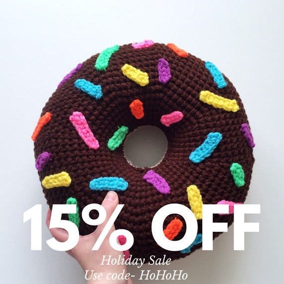 Crochet Donut Throw Pillow in Chocolate with Rainbow Sprinkles