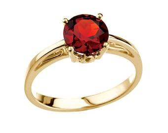 Round Garnet Ring Yellow Gold Real Garnet Birthstone Ring Round Mozambique Garnet Ring Garnet Stacking Ring 14k Gold Garnet Engagement Ring