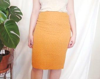 Vintage Midi Pencil Skirt // Medium, 8-10 // women's, orange, embroidered, textured, tangerine, bright