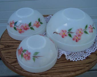 "Fire King ""Peach Blossom"" mixing bowls"