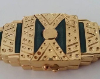 Estee Lauder Private Collection Solid Perfume Compact circa 1988 green and gold rare collectible