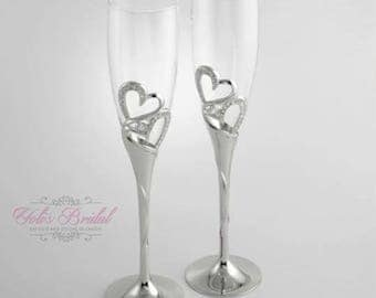 FAST SHIPPING!! Wedding Toast and Cake Server Set, Champagne Flutes, Wedding Knife Set, Silver Wedding Glasses, Wedding Gift
