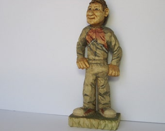 hand carved wood carving jogger guy