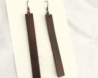 Handmade Leather Earrings - Leather Strip Earrings - Brown  Leather Earrings