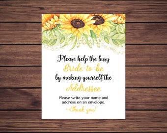 Bride to Be Address an Envelope Sign, Floral Address an Envelope, Please write your name and address on an envelope Sunflowers Printable