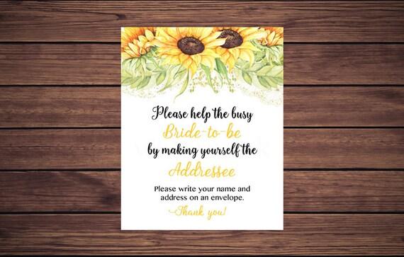 Bride To Be Address An Envelope Sign, Floral Address An
