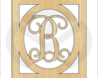 Unfinished Wood Oval & Rectangle Framed Initial Design Door Hanger Laser Cutout w/ Your Initial, Home Decor, Various Sizes, Script, Family